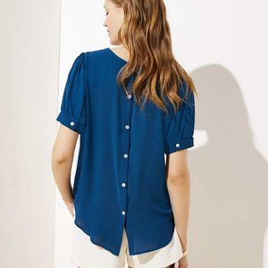 LOFT Puff Sleeve Button Back Blouse Darling! NWT!